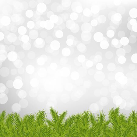 Fir Tree Border With Silver Bokeh With Gradient Mesh, Vector Illustration Stock Vector - 17315075