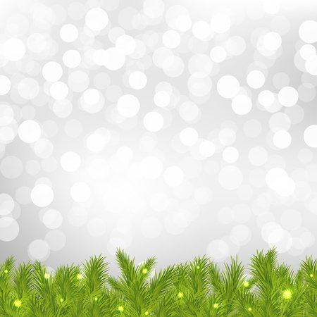 FirTree With Silver Bokeh With Gradient Mesh, Vector Illustration Ilustrace