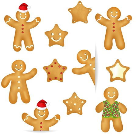 Gingerbread Cookies Set Isolated On White Background, With Gradient Mesh, Vector Illustration Stock Vector - 17315062