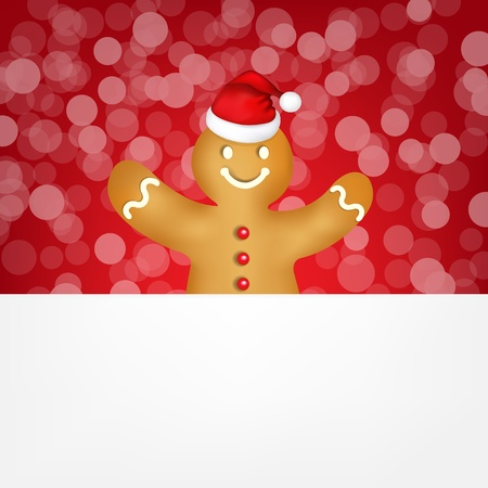 Gingerbread With Red Bokeh, With Gradient Mesh, Vector Illustration Vector