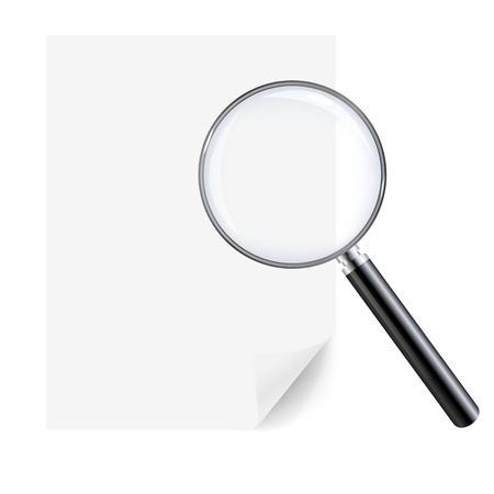 Magnifying Glass And Sheet Of Paper, Isolated On White Background, With Gradient Mesh, Vector Illustration Stock Vector - 17315069