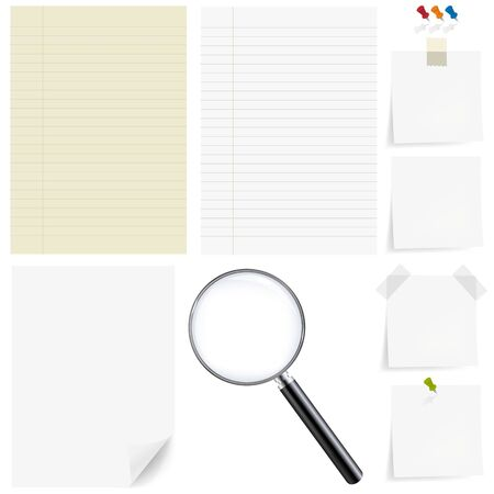 zoom icon: Paper Big Set With Magnifying, Isolated On White Background, With Gradient Mesh, Vector Illustration