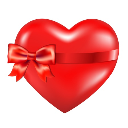 donor: Red Heart With Red Bow, Isolated On White Background, With Gradient Mesh, Vector Illustration Illustration