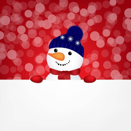 Snowman With Bokeh, With Gradient Mesh, Vector Illustration Stock Vector - 17315061
