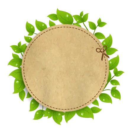 Aankondiging Сoupon Met Bladeren Met Gradient Mesh, geïsoleerd op een witte achtergrond, vectorillustratie