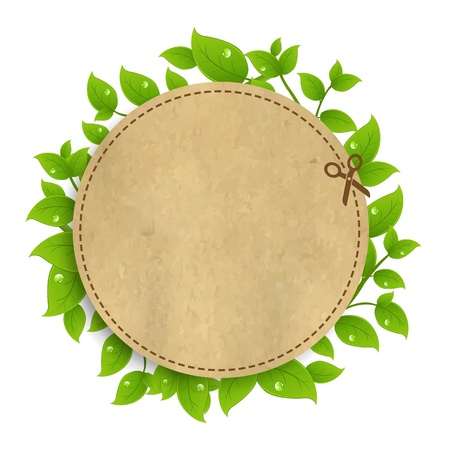 Announcement Ð¡oupon With Leaves With Gradient Mesh, Isolated On White Background, Vector Illustration