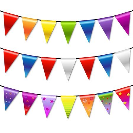 flapping: Rainbow Bunting Banner Garland, Isolated On White Background, Vector Illustration