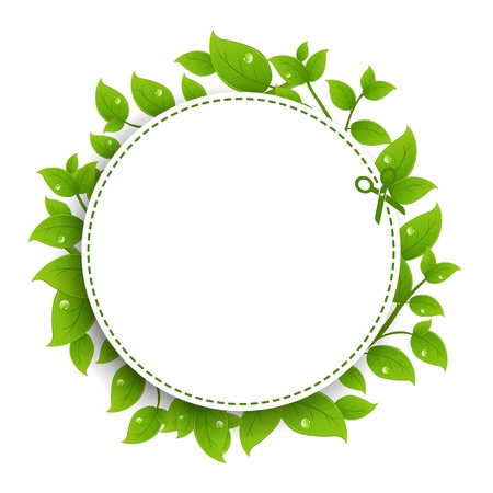 Announcement Coupon With Green Leaves With Gradient Mesh, Isolated On White Background, Vector Illustration  イラスト・ベクター素材