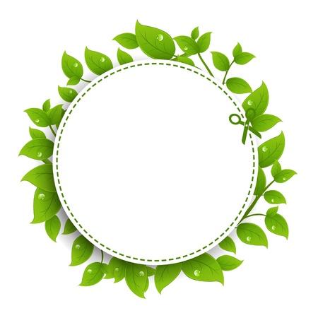 buono sconto: Annuncio Cedola Con Foglie Verdi con gradiente maglie, isolato su sfondo bianco, illustrazione vettoriale