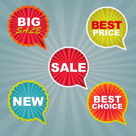 discount tag: Colorful Sale Stickers And Labels With Gradient Mesh, Vector Illustration Illustration
