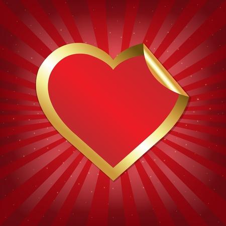 Golden Heart Sticker With Sunburst With Gradient Mesh, Vector Illustration Vector