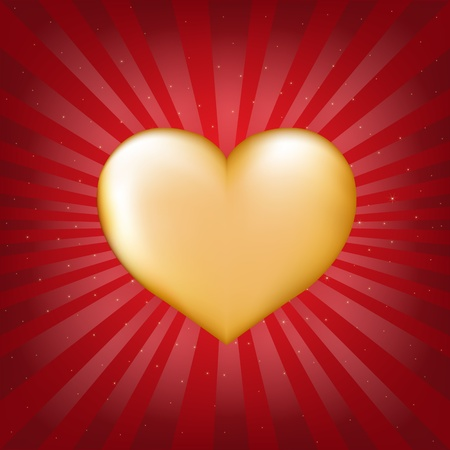 Golden Heart With Sunburst With Gradient Mesh, Vector Illustration Vector