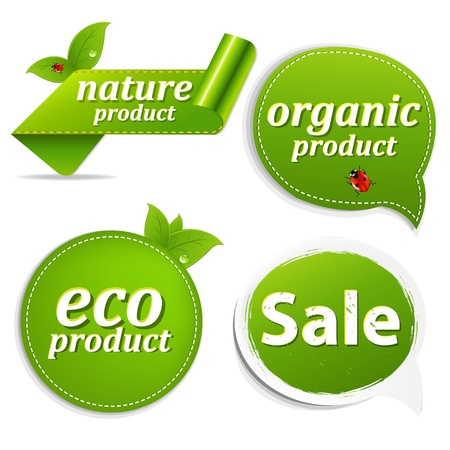 environmentalist label: 4 Green Set Eco Tags With Gradient Mesh, Isolated On White Background, Vector Illustration