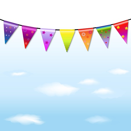 fair: Rainbow Bunting Banner Garland With Blue Sky With Gradient Mesh, Vector Illustration