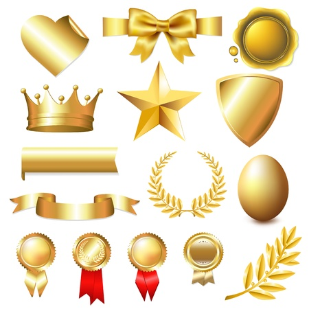 heart with crown: Big Golden Collection With Gradient Mesh, Isolated On White Background, Vector Illustration