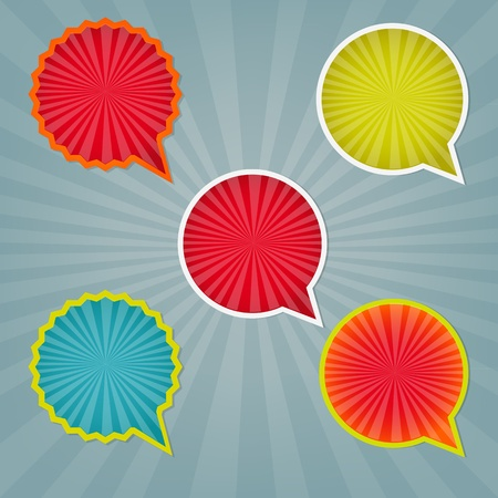 sticker design: Colorful Stickers And Labels With Sunburst With Gradient Mesh, Vector Illustration Illustration