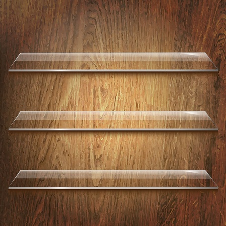 book store: Glass Shelves On Wooden Background With Gradient Mesh, Vector Illustration