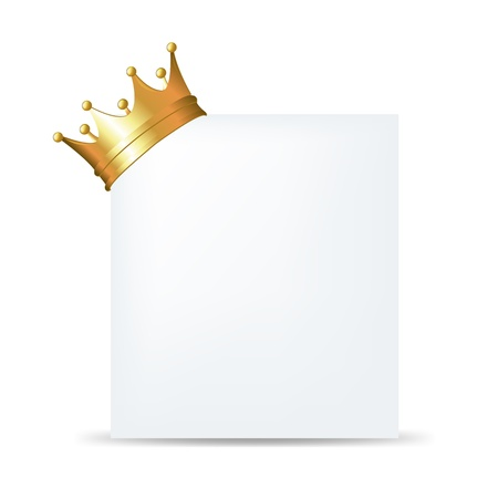 Golden Crown On Blank Card With Gradient Mesh, Isolated On White Background, Vector Illustration Vector