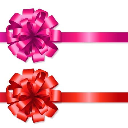 Soie rouge et Arcs de rose avec filet de dégradé, isolé sur fond blanc, Illustration