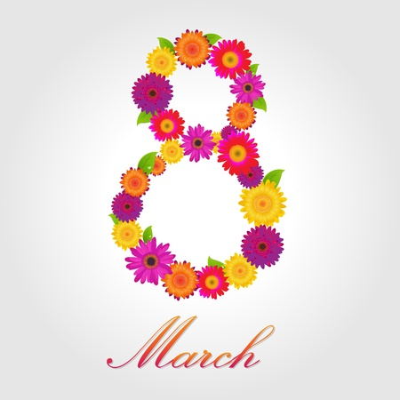 8 March, Postcard With Color Flowers With Gradient Mesh, Vector Illustration