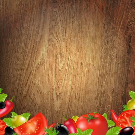 Wood Background With Vegetables With Gradient Mesh, Vector Illustration Stock Vector - 18019303