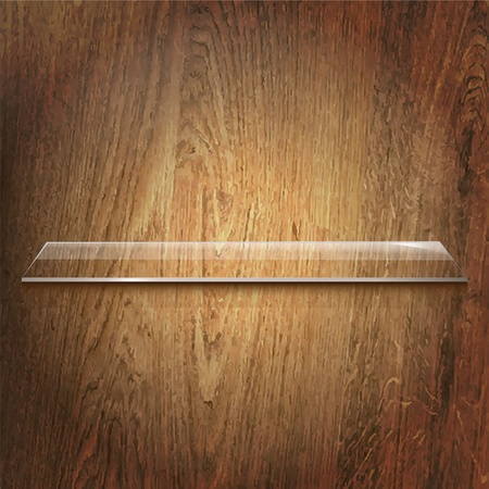 home products: Glass Shelf On Wooden Background, Vector Illustration