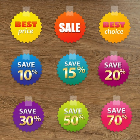 wooden vector mesh: Big Colorful Sale Tags With Wooden Background, With Gradient Mesh, Vector Illustration