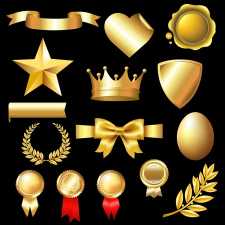 Big Set Of Gold Elements With Gradient Mesh, Isolated On Black Background, Vector Illustration Vector