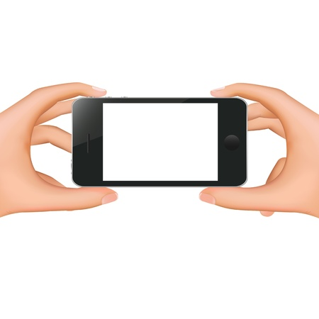 Hands Holding Phone With Gradient Mesh, Isolated On White Background, Vector Illustration Stock Vector - 18427771