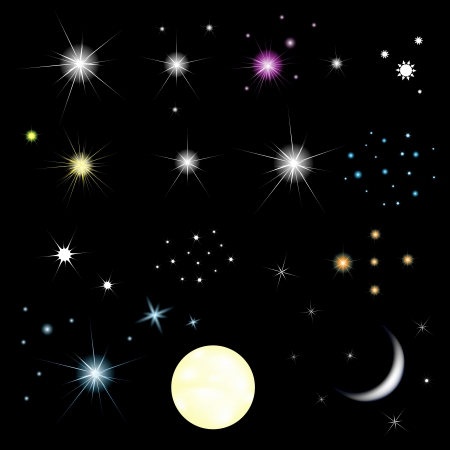 crescent moon: Set Of Stars And Moon With Gradient Mesh, Isolated On Black Background, Vector Illustration