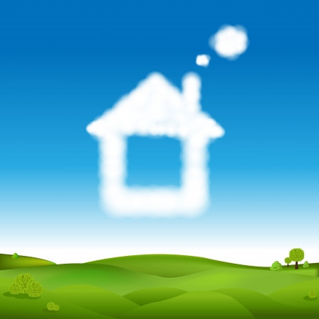 dream house: Abstract House From Clouds In Blue Sky And Green Landscape With Gradient Mesh, Illustration