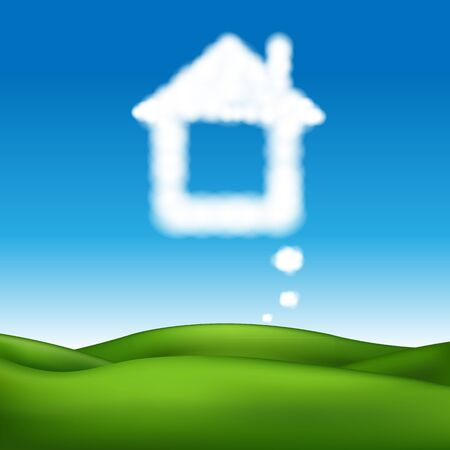 family outside house: Beautiful Landscape With Abstract House With Gradient Mesh, Illustration Illustration