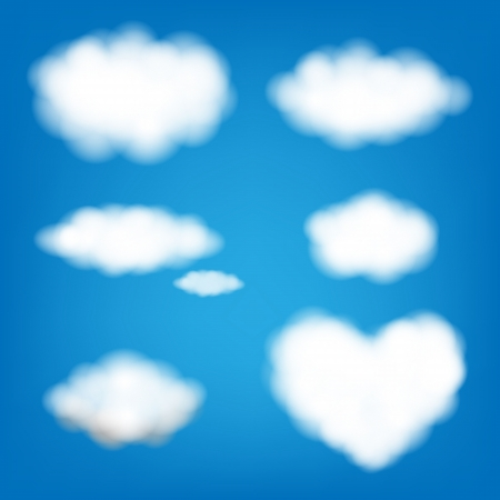 Big Set Clouds With Gradient Mesh, Illustration