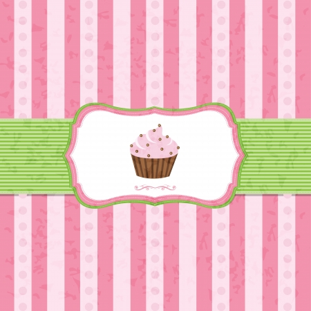 candy border: Pastel Vintage Cupcake Background With Gradient Mesh, Vector Illustration Illustration