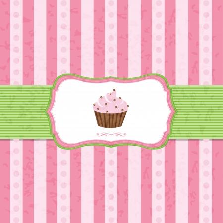 Pastel Vintage Cupcake Background With Gradient Mesh, Vector Illustration Illustration