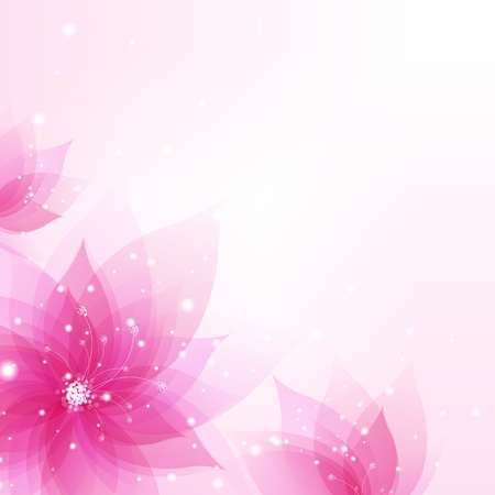 Abstract Background With Flowers With Gradient Mesh, Vector Illustration