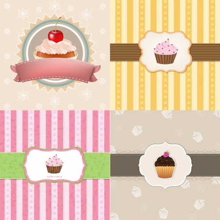 layout strawberry: 4 Vintage Cupcake Cards With Gradient Mesh, Vector Illustration