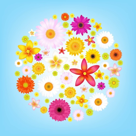Flowers And Blue Sky With Gradient Mesh, Vector Illustration Vector