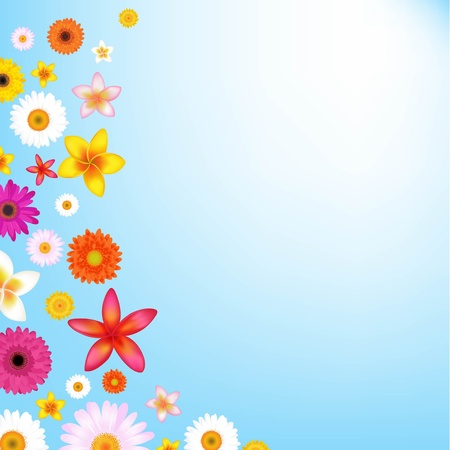 blue daisy: Flowers And Sky With Gradient Mesh, Vector Illustration