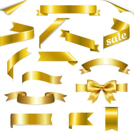 Golden Web Linten Set Met Gradient Mesh, op een witte achtergrond, Vector illustratie