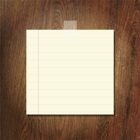 Note Papers On Wooden Background, Vector Illustration Vector