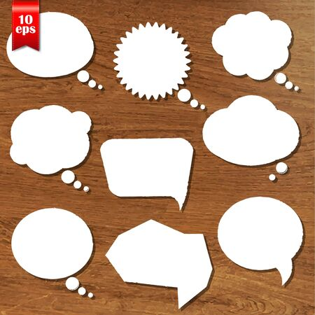 wooden vector mesh: Wooden Background With Speech Bubbles Set With Gradient Mesh, Vector Illustration