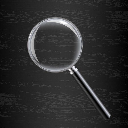 wooden vector mesh: Magnifying Glass On Black Wooden Background With Gradient Mesh, Vector Illustration Illustration
