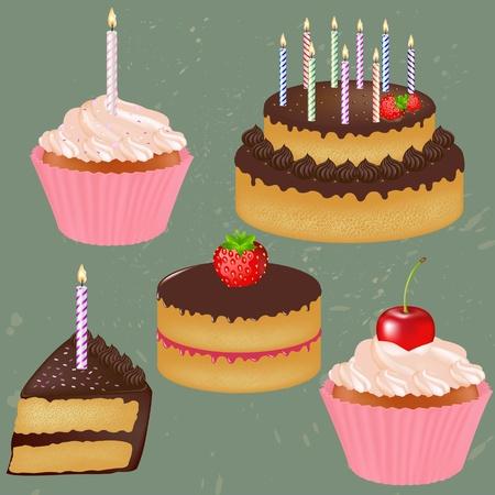 Birthday Cake Big Set With Gradient Mesh, Vector Illustration