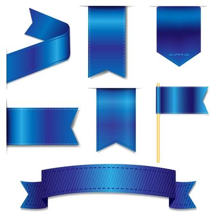 azul: Cintas azules web creado con malla de degradado, ilustración vectorial