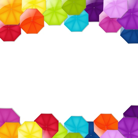 Border From Umbrellas With Gradient Mesh, Vector Illustration Vector