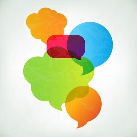 Kleurrijke Vector Speech Bubbles Met Gradient Mesh, Vector Illustratie Stock Illustratie