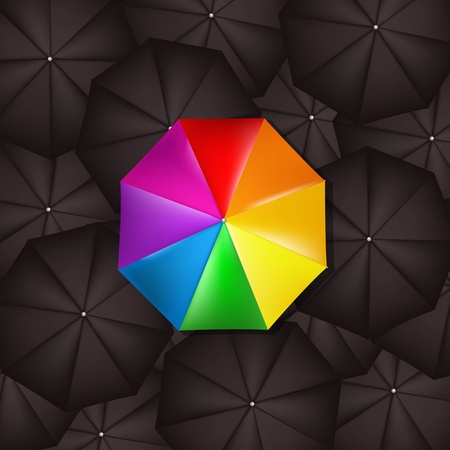 rainbow umbrella: Color Umbrella Against Black Umbrellas With Gradient Mesh, Vector Illustration