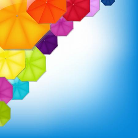 Color Umbrellas With Gradient Mesh, Vector Illustration