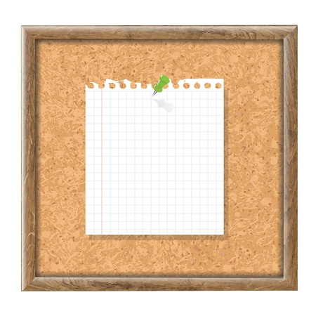 Cork Board With Blank Note Paper And Green Pin With Gradient Mesh, Vector Illustration  Illustration